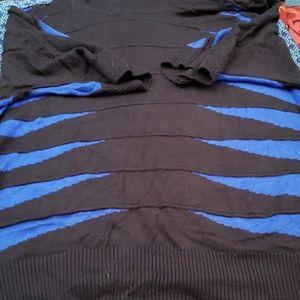 Blue Black Short Sleeve Turtleneck